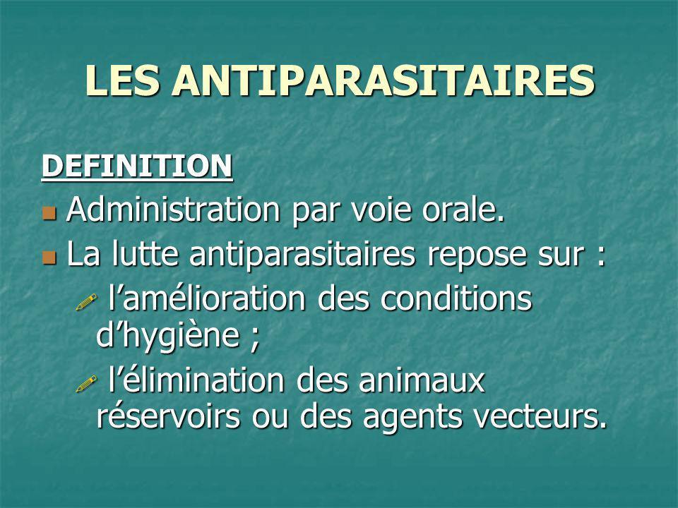 LES ANTIPARASITAIRES LeishmanioseTraitement Lutilisation de dérivés pentavalents de lantimoine (GLUCANTIME) : 15 à 20 injections IM quotidiennes ou en IV lentes.