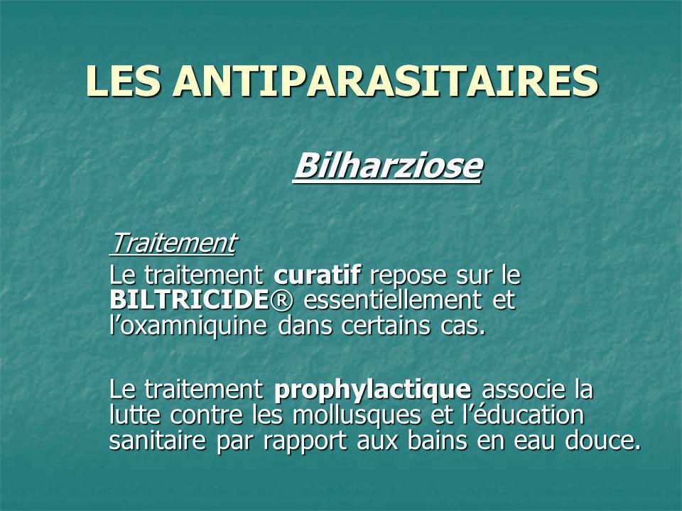 LES ANTIPARASITAIRES BilharzioseTraitement Le traitement curatif repose sur le BILTRICIDE® essentiellement et loxamniquine dans certains cas. Le trait