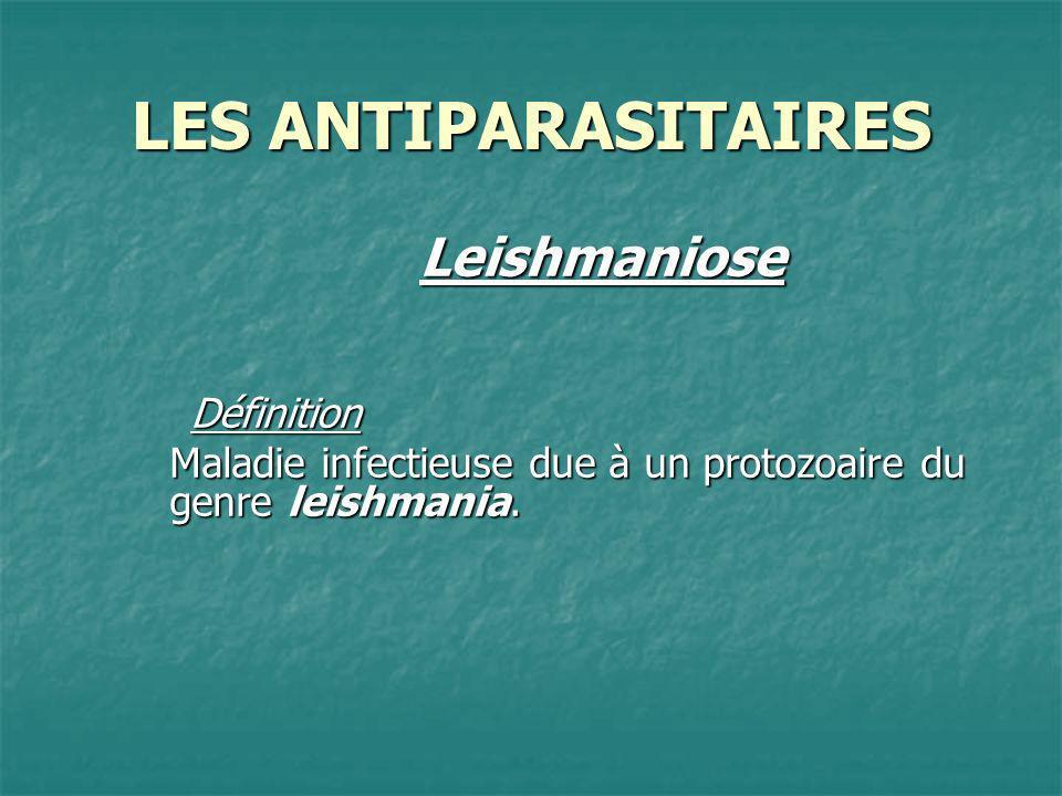 LES ANTIPARASITAIRES LeishmanioseDéfinition Maladie infectieuse due à un protozoaire du genre leishmania.