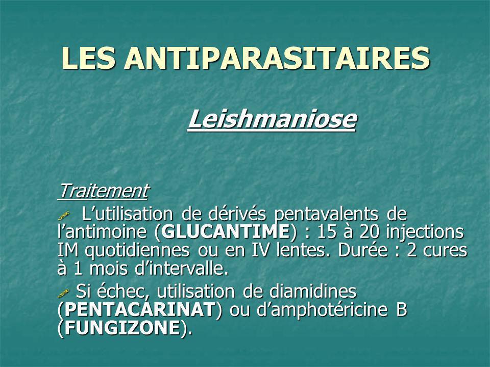 LES ANTIPARASITAIRES LeishmanioseTraitement Lutilisation de dérivés pentavalents de lantimoine (GLUCANTIME) : 15 à 20 injections IM quotidiennes ou en