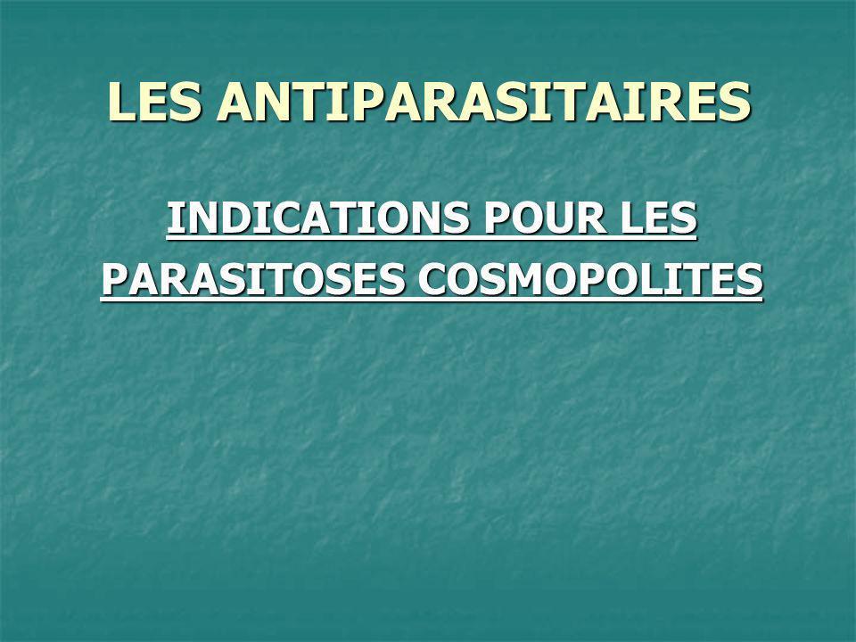 LES ANTIPARASITAIRES OxyuroseDéfinition Parasitose due à la présence dans lintestin dun nématode, Enterobius Vermicularis, vers de couleur blanche, de petite taille (1 cm de long environ).