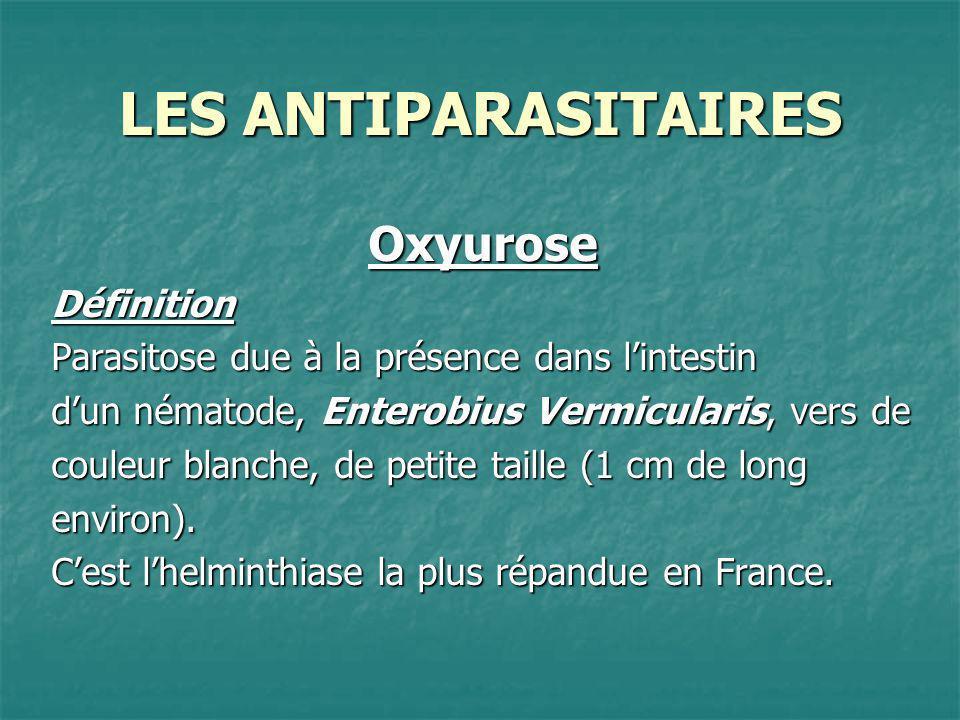 LES ANTIPARASITAIRES OxyuroseTraitement Il repose sur les antihelminthiques : Flubendazole (FLUVERMAL®) ; Flubendazole (FLUVERMAL®) ; Palmoate de pyrantel (COMBANTRIN®) qui immobilise les helminthes et favorise leur expulsion du tube digestif ; Palmoate de pyrantel (COMBANTRIN®) qui immobilise les helminthes et favorise leur expulsion du tube digestif ; Palmoate de pyrvinium (POVANYL®) qui détruit les oxyures dans la lumière intestinale.
