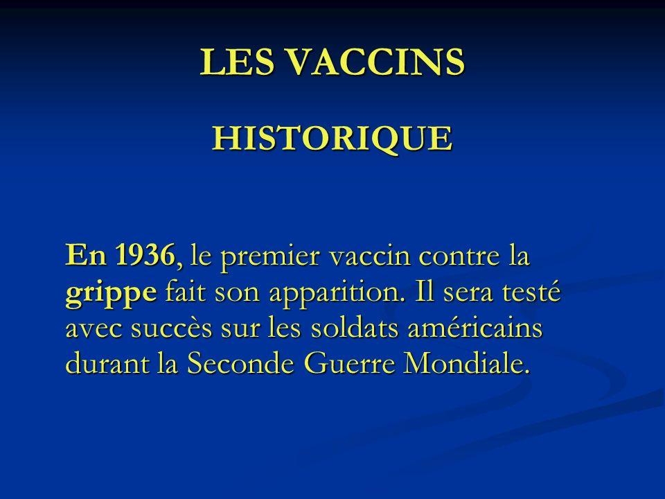 LES VACCINS HISTORIQUE En 1936, le premier vaccin contre la grippe fait son apparition. Il sera testé avec succès sur les soldats américains durant la
