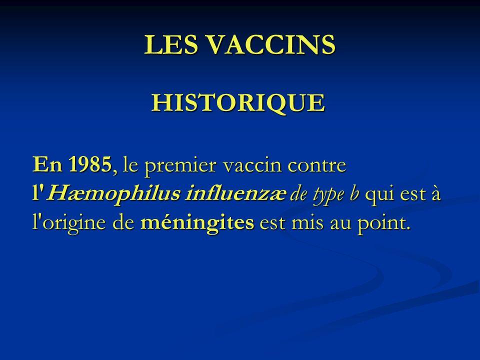 LES VACCINS HISTORIQUE En 1985, le premier vaccin contre l'Hæmophilus influenzæ de type b qui est à l'origine de méningites est mis au point.