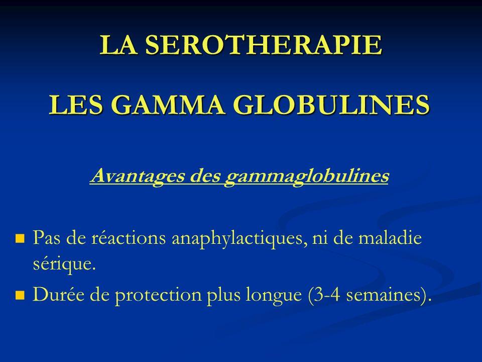 LA SEROTHERAPIE LES GAMMA GLOBULINES Avantages des gammaglobulines Pas de réactions anaphylactiques, ni de maladie sérique. Durée de protection plus l