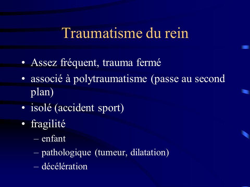 Traumatisme du rein Assez fréquent, trauma fermé associé à polytraumatisme (passe au second plan) isolé (accident sport) fragilité –enfant –pathologiq