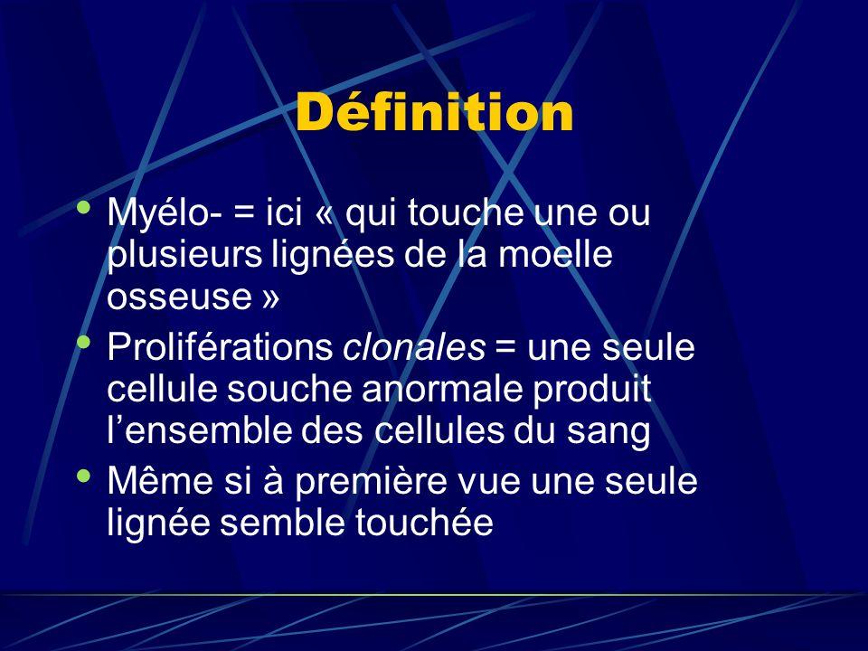 Définition Myélo- = ici « qui touche une ou plusieurs lignées de la moelle osseuse » Proliférations clonales = une seule cellule souche anormale produit lensemble des cellules du sang Même si à première vue une seule lignée semble touchée