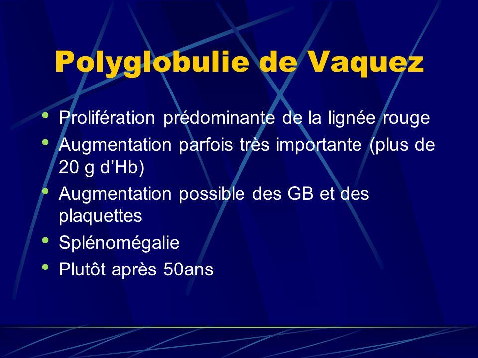 Polyglobulie de Vaquez Primitive = pas secondaire à une autre cause Les érythroblastes poussent spontanément en culture de sang au laboratoire (sans EPO) Risque vasculaire +++ (AVC) Traitement par saignées urgent si danger Traitement au long cours : saignées, phosphore radioactif, hydroxurée (Hydréa), V À la longue (15-20 ans) la moelle devient fibreuse Possible transformation en leucémie aiguë