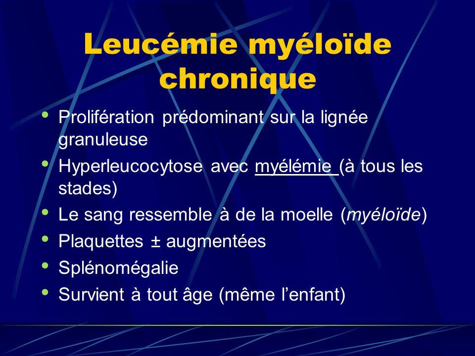 Leucémie myéloïde chronique Prolifération prédominant sur la lignée granuleuse Hyperleucocytose avec myélémie (à tous les stades) Le sang ressemble à de la moelle (myéloïde) Plaquettes ± augmentées Splénomégalie Survient à tout âge (même lenfant)
