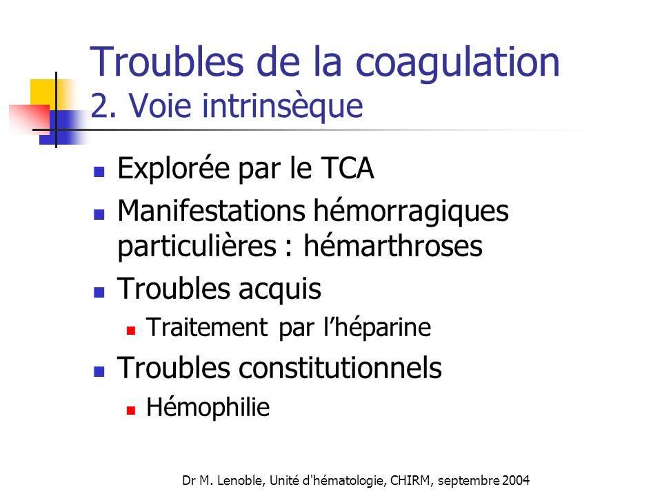 Dr M. Lenoble, Unité d'hématologie, CHIRM, septembre 2004 Troubles de la coagulation 2. Voie intrinsèque Explorée par le TCA Manifestations hémorragiq