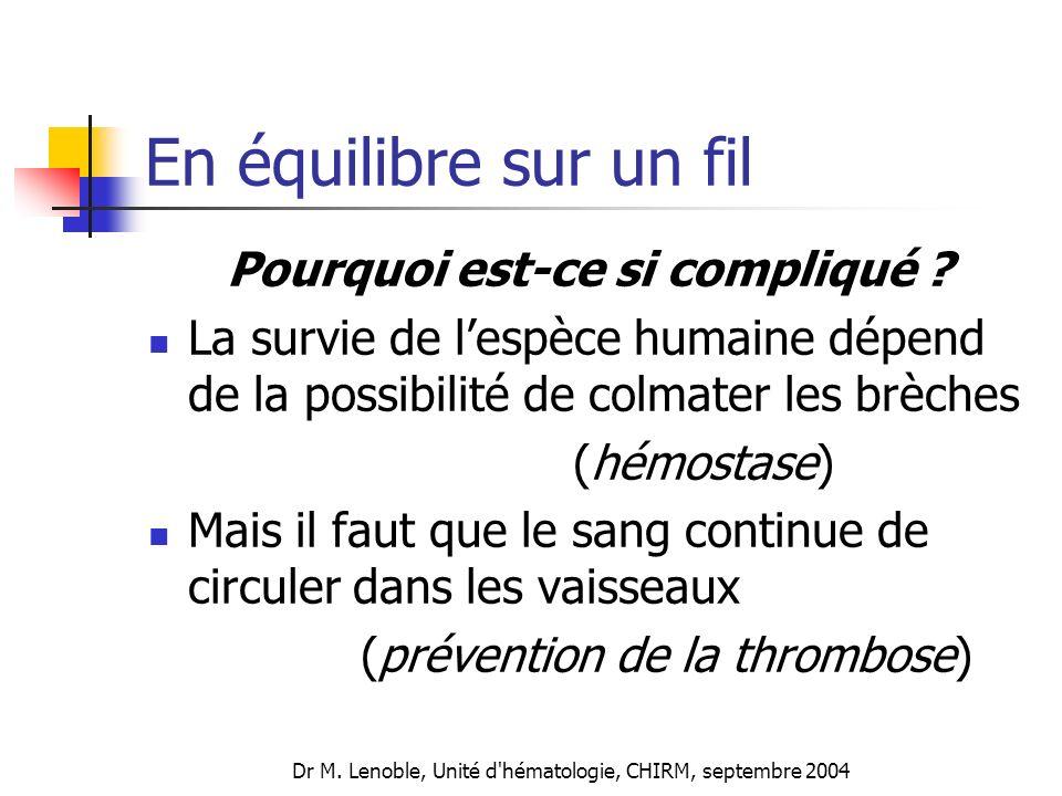 Dr M. Lenoble, Unité d'hématologie, CHIRM, septembre 2004 En équilibre sur un fil Pourquoi est-ce si compliqué ? La survie de lespèce humaine dépend d