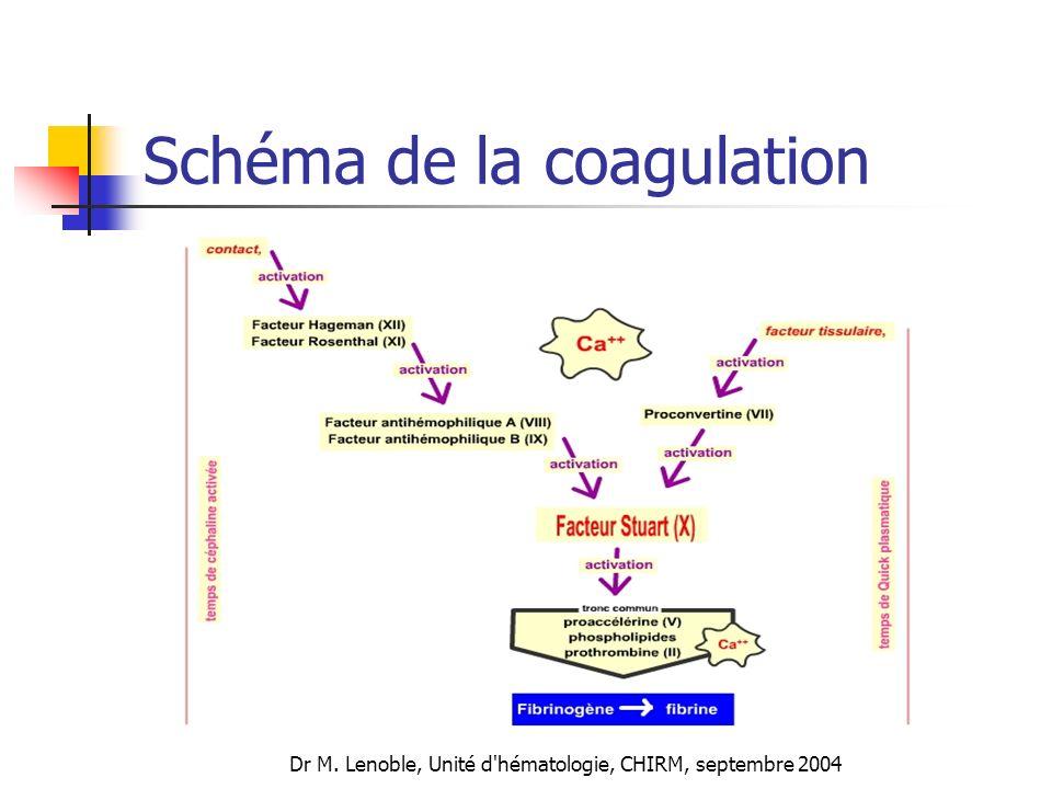 Dr M. Lenoble, Unité d'hématologie, CHIRM, septembre 2004 Schéma de la coagulation