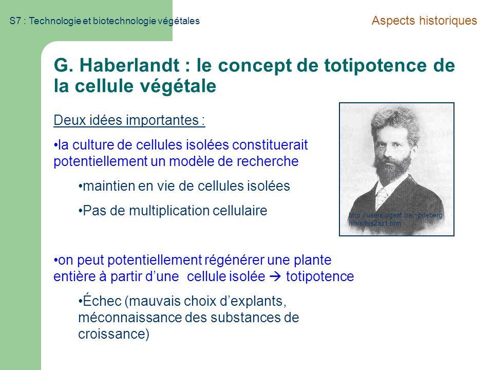 S7 : Technologie et biotechnologie végétales G. Haberlandt : le concept de totipotence de la cellule végétale Aspects historiques Deux idées important