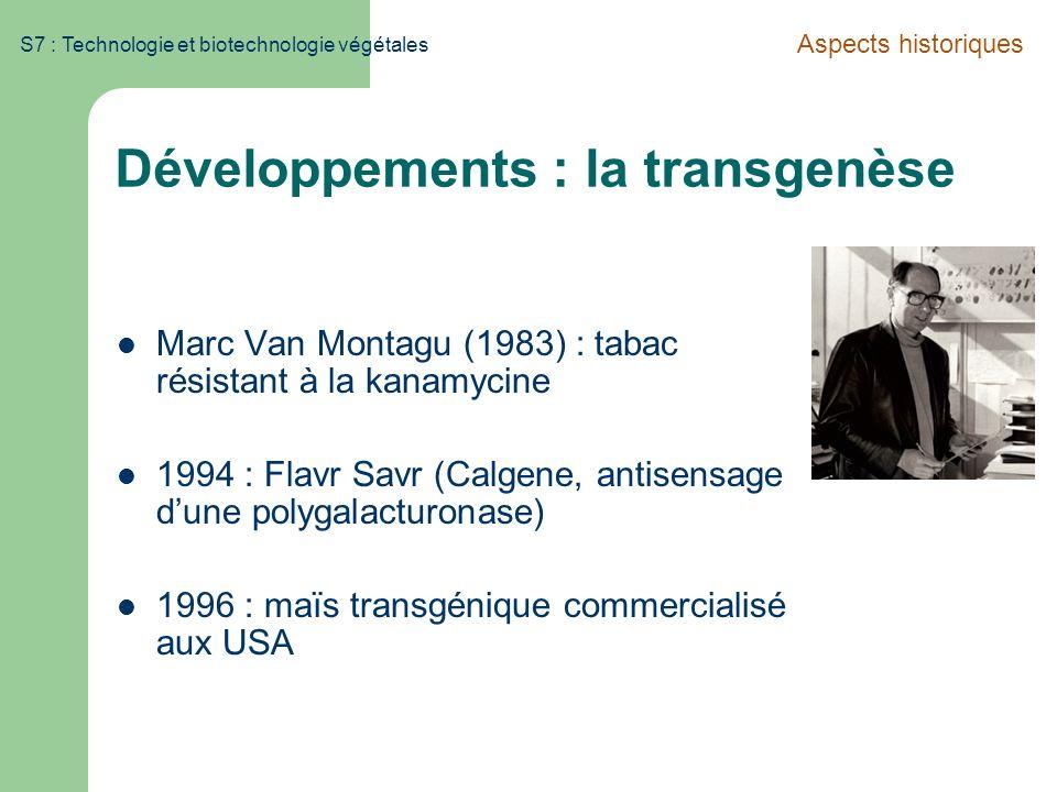 S7 : Technologie et biotechnologie végétales Développements : la transgenèse Marc Van Montagu (1983) : tabac résistant à la kanamycine 1994 : Flavr Sa