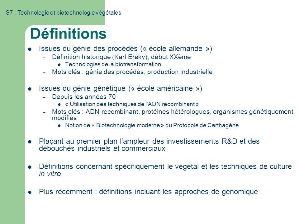 S7 : Technologie et biotechnologie végétales Définitions Issues du génie des procédés (« école allemande ») – Définition historique (Karl Ereky), débu