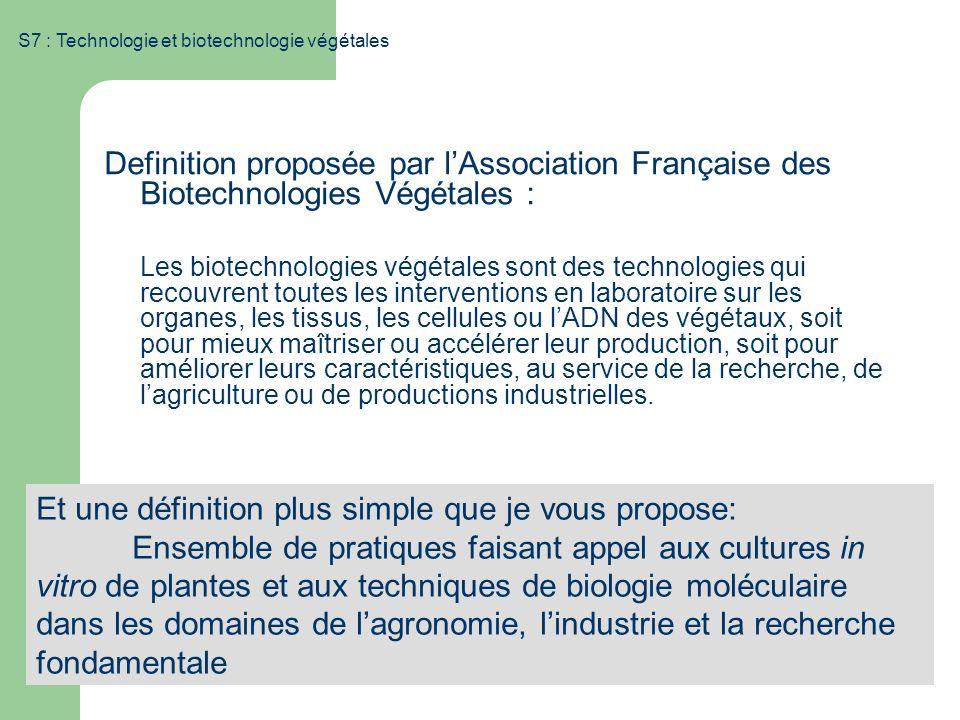 S7 : Technologie et biotechnologie végétales Definition proposée par lAssociation Française des Biotechnologies Végétales : Les biotechnologies végéta