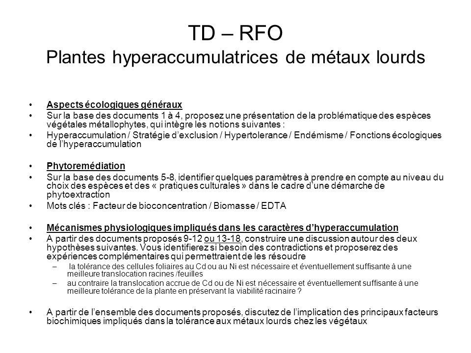 TD – RFO Plantes hyperaccumulatrices de métaux lourds Aspects écologiques généraux Sur la base des documents 1 à 4, proposez une présentation de la pr