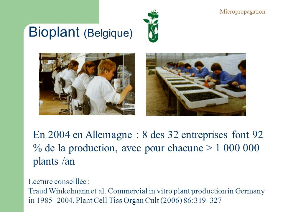 Bioplant (Belgique) Micropropagation Lecture conseillée : Traud Winkelmann et al. Commercial in vitro plant production in Germany in 1985–2004. Plant