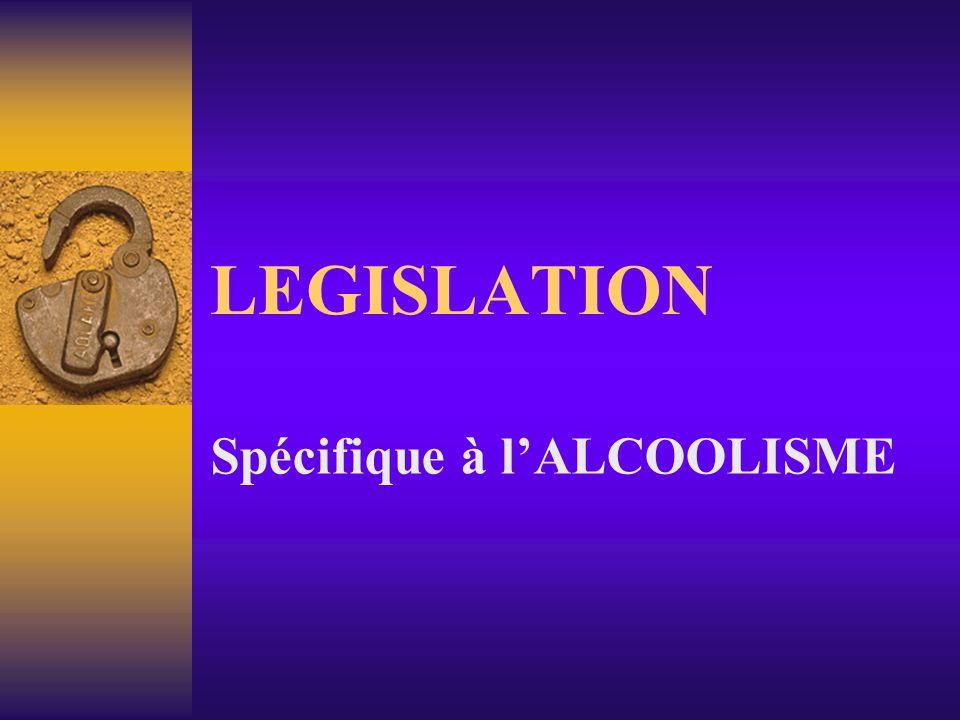 LEGISLATION Spécifique à lALCOOLISME