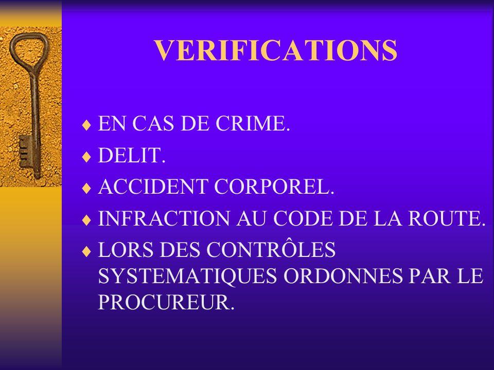 VERIFICATIONS EN CAS DE CRIME. DELIT. ACCIDENT CORPOREL. INFRACTION AU CODE DE LA ROUTE. LORS DES CONTRÔLES SYSTEMATIQUES ORDONNES PAR LE PROCUREUR.