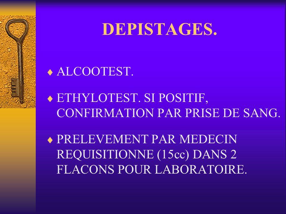 DEPISTAGES. ALCOOTEST. ETHYLOTEST. SI POSITIF, CONFIRMATION PAR PRISE DE SANG. PRELEVEMENT PAR MEDECIN REQUISITIONNE (15cc) DANS 2 FLACONS POUR LABORA