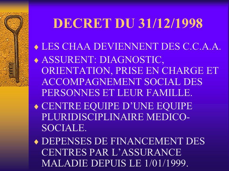 DECRET DU 31/12/1998 LES CHAA DEVIENNENT DES C.C.A.A. ASSURENT: DIAGNOSTIC, ORIENTATION, PRISE EN CHARGE ET ACCOMPAGNEMENT SOCIAL DES PERSONNES ET LEU