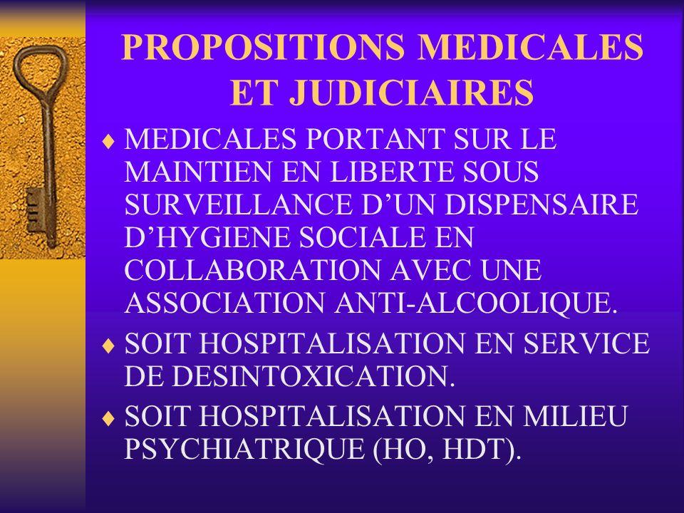 PROPOSITIONS MEDICALES ET JUDICIAIRES MEDICALES PORTANT SUR LE MAINTIEN EN LIBERTE SOUS SURVEILLANCE DUN DISPENSAIRE DHYGIENE SOCIALE EN COLLABORATION AVEC UNE ASSOCIATION ANTI-ALCOOLIQUE.