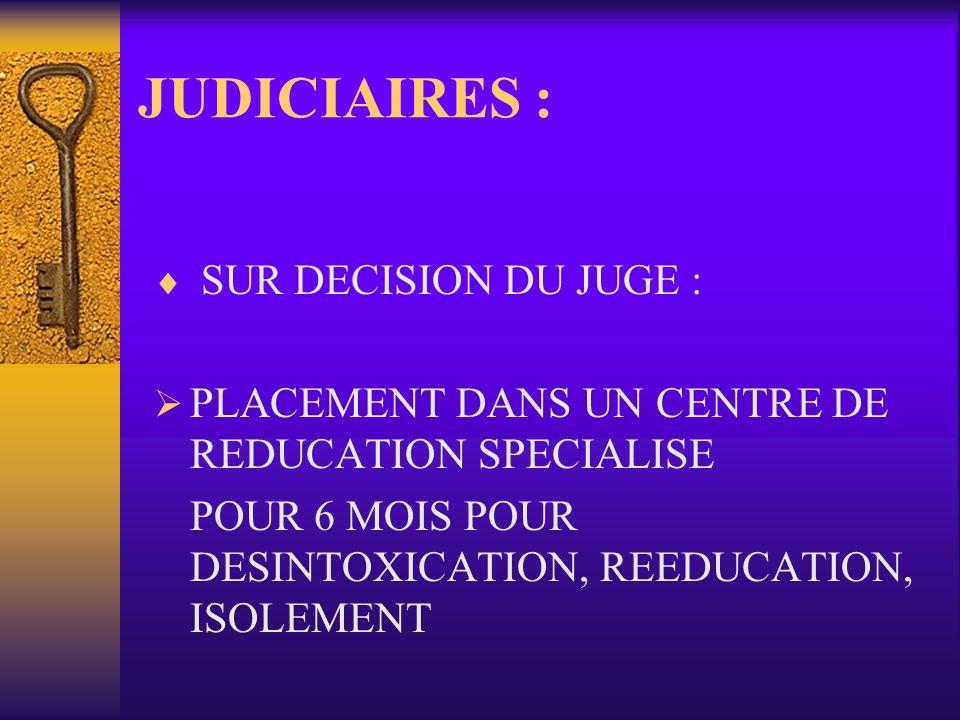 JUDICIAIRES : SUR DECISION DU JUGE : PLACEMENT DANS UN CENTRE DE REDUCATION SPECIALISE POUR 6 MOIS POUR DESINTOXICATION, REEDUCATION, ISOLEMENT
