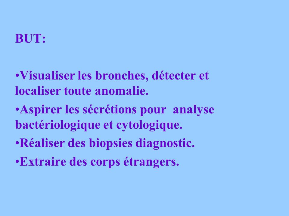 LA FIBROSCOPIE BRONCHIQUE Examen endoscopique de la trachée et de larbre bronchique. Sous anesthésie locale ou générale. Fibroscope introduit par la n