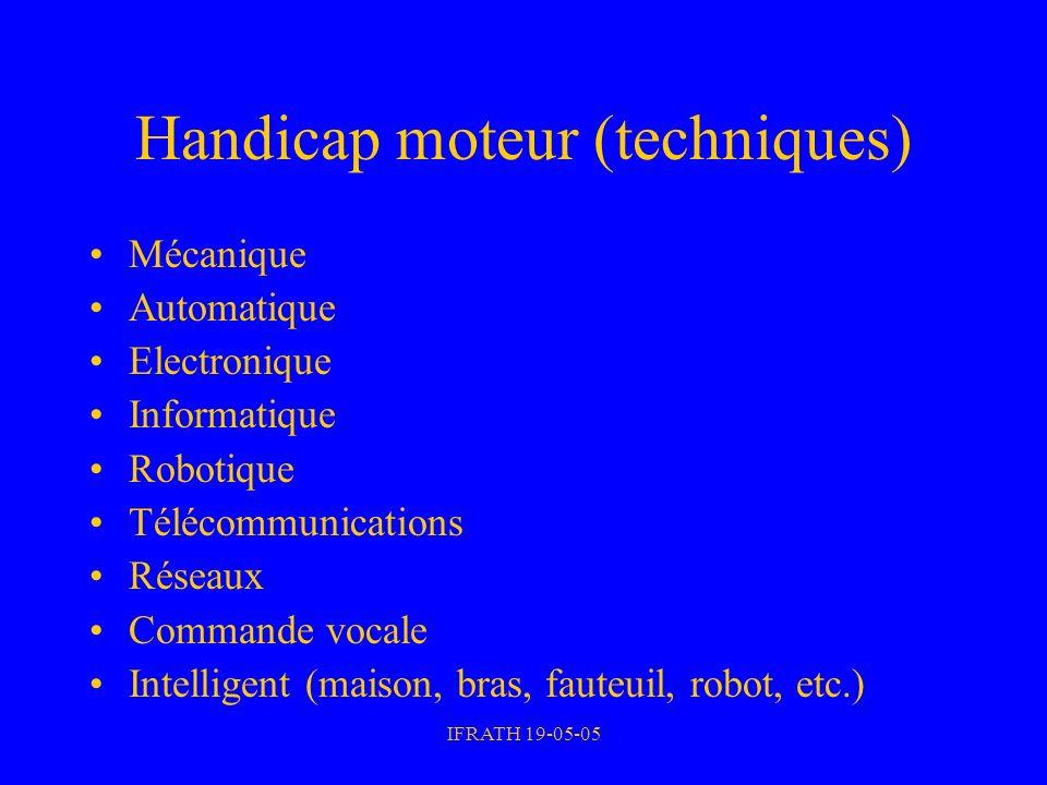 IFRATH 19-05-05 Handicap moteur (techniques) Mécanique Automatique Electronique Informatique Robotique Télécommunications Réseaux Commande vocale Inte