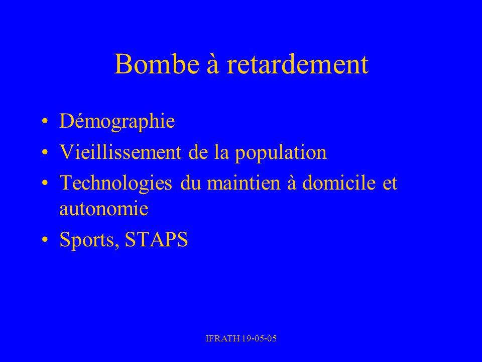 IFRATH 19-05-05 Bombe à retardement Démographie Vieillissement de la population Technologies du maintien à domicile et autonomie Sports, STAPS