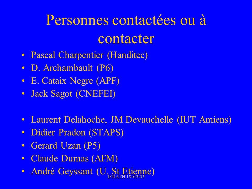 IFRATH 19-05-05 Personnes contactées ou à contacter Pascal Charpentier (Handitec) D. Archambault (P6) E. Cataix Negre (APF) Jack Sagot (CNEFEI) Lauren