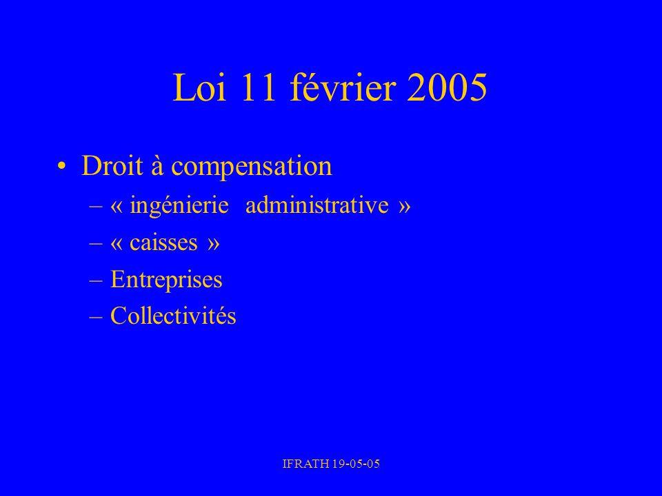 IFRATH 19-05-05 Loi 11 février 2005 Droit à compensation –« ingénierie administrative » –« caisses » –Entreprises –Collectivités