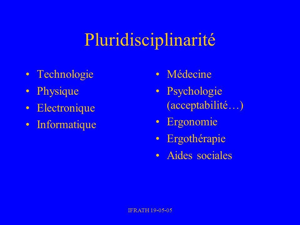 IFRATH 19-05-05 Pluridisciplinarité Technologie Physique Electronique Informatique Médecine Psychologie (acceptabilité…) Ergonomie Ergothérapie Aides