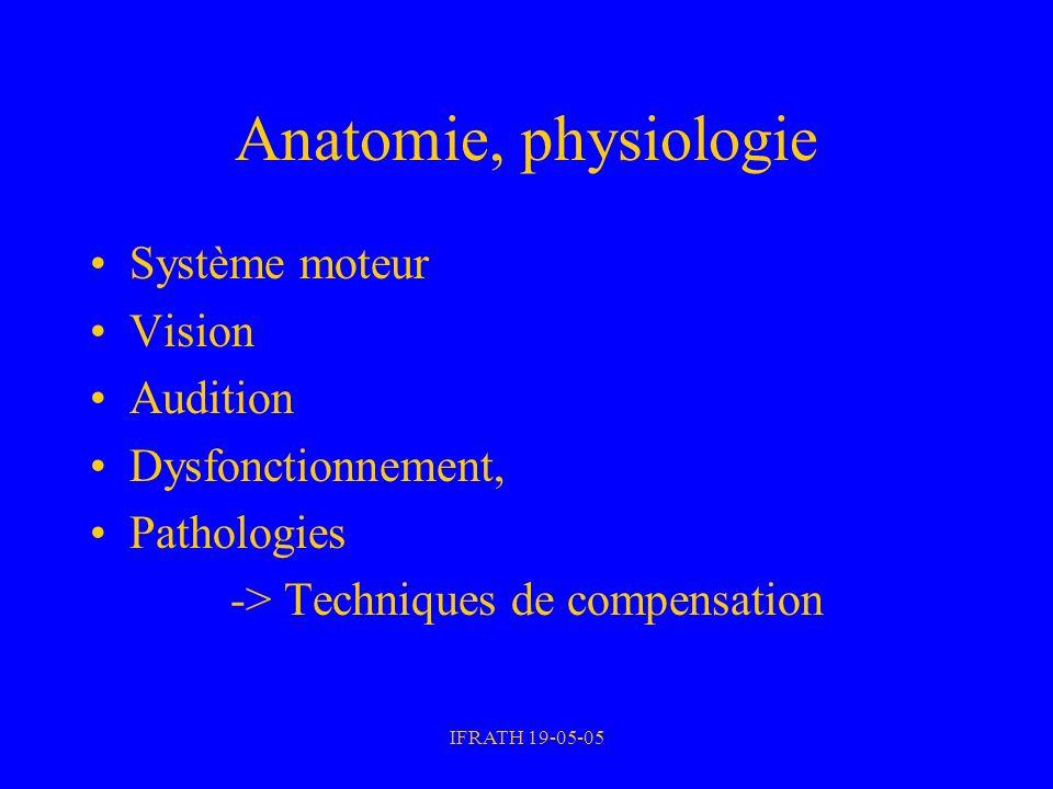 IFRATH 19-05-05 Anatomie, physiologie Système moteur Vision Audition Dysfonctionnement, Pathologies -> Techniques de compensation