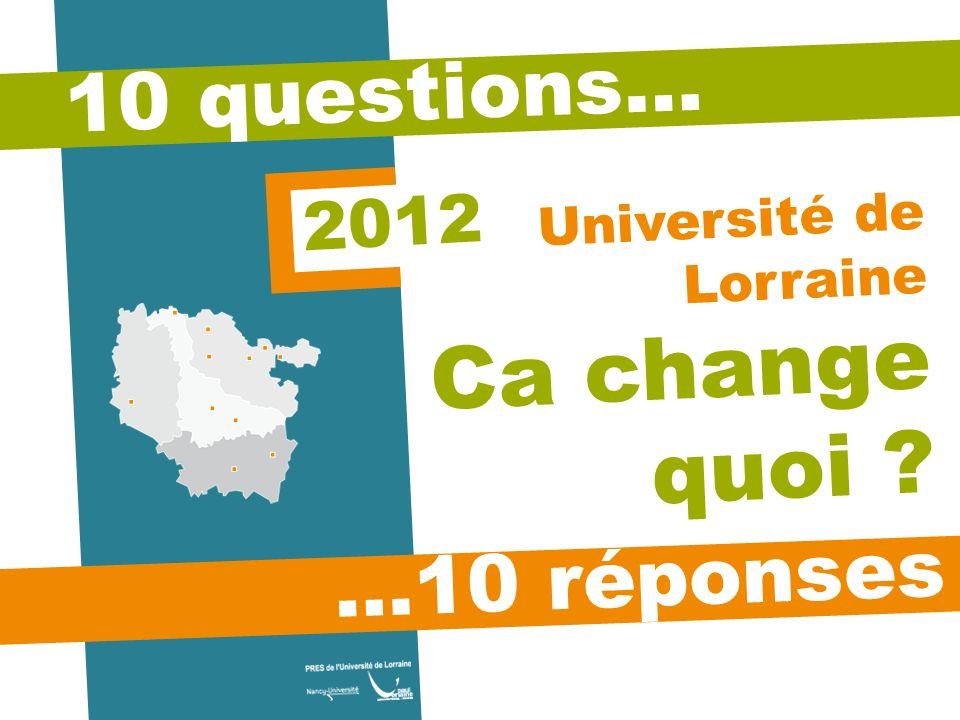 10 questions… …10 réponses Université de Lorraine Ca change quoi ? 2012