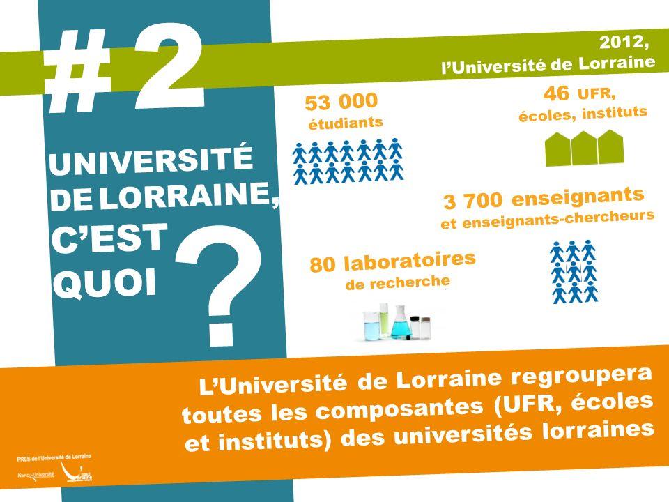 UNIVERSITÉ DE LORRAINE, CEST QUOI ? 2 # LUniversité de Lorraine regroupera toutes les composantes (UFR, écoles et instituts) des universités lorraines