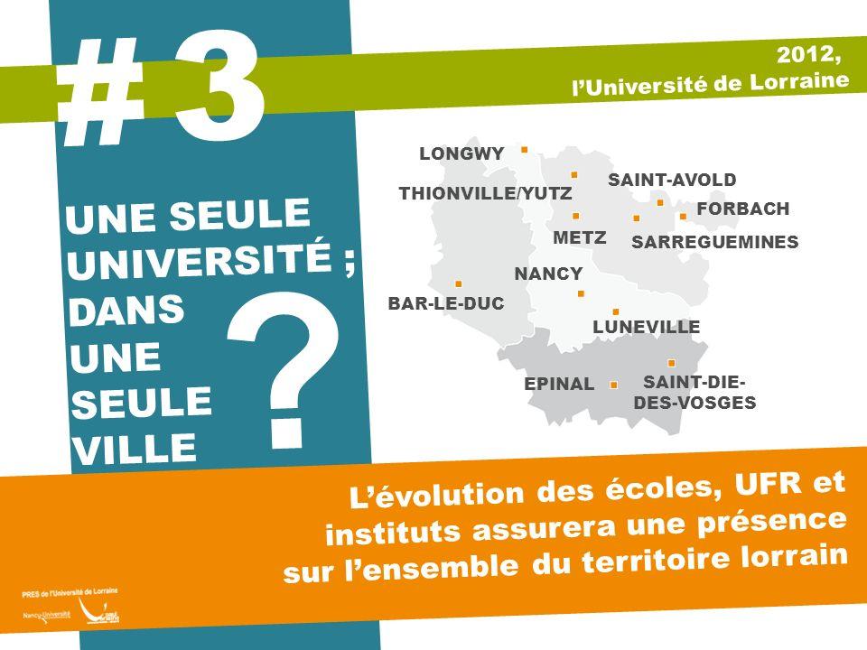 UNE SEULE UNIVERSITÉ ; DANS UNE SEULE VILLE ? 3 # Lévolution des écoles, UFR et instituts assurera une présence sur lensemble du territoire lorrain 20