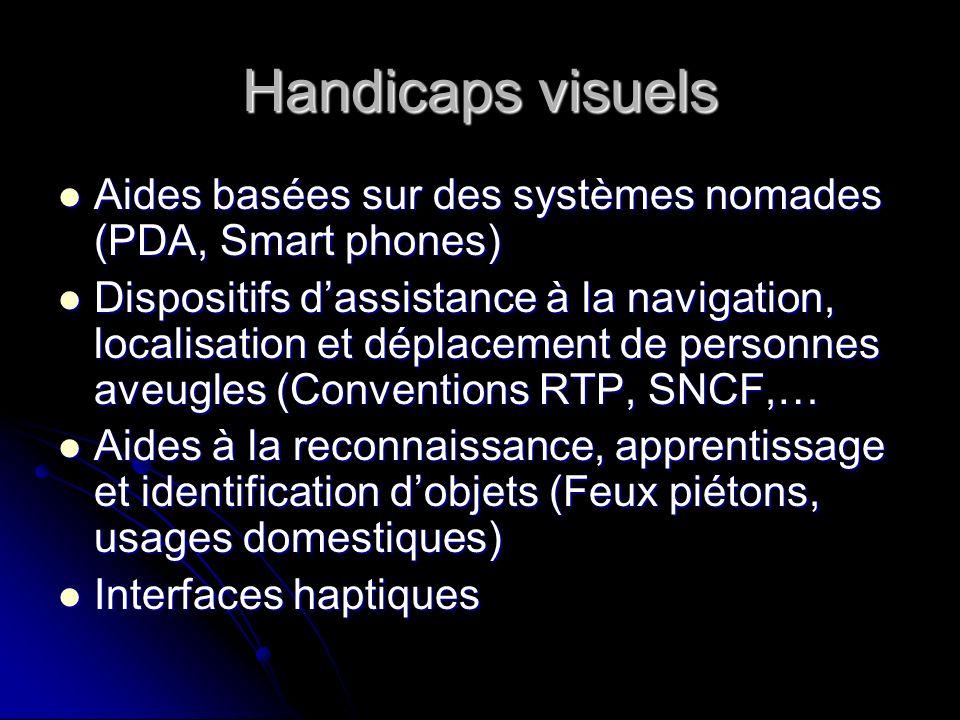 Handicaps visuels Aides basées sur des systèmes nomades (PDA, Smart phones) Aides basées sur des systèmes nomades (PDA, Smart phones) Dispositifs dass
