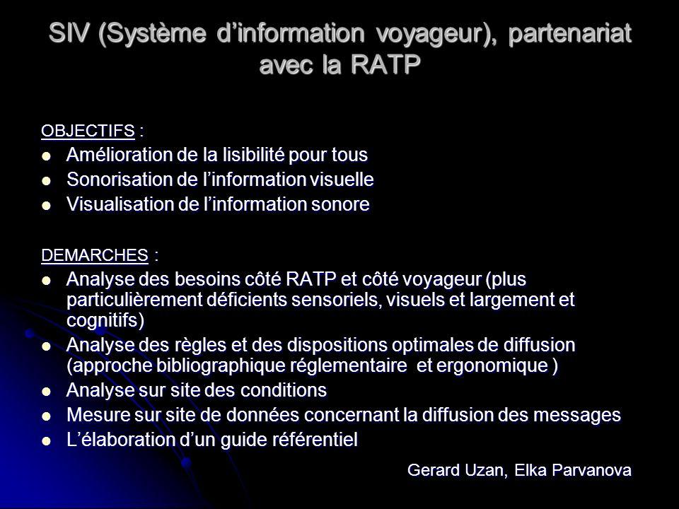 SIV (Système dinformation voyageur), partenariat avec la RATP OBJECTIFS : Amélioration de la lisibilité pour tous Amélioration de la lisibilité pour t