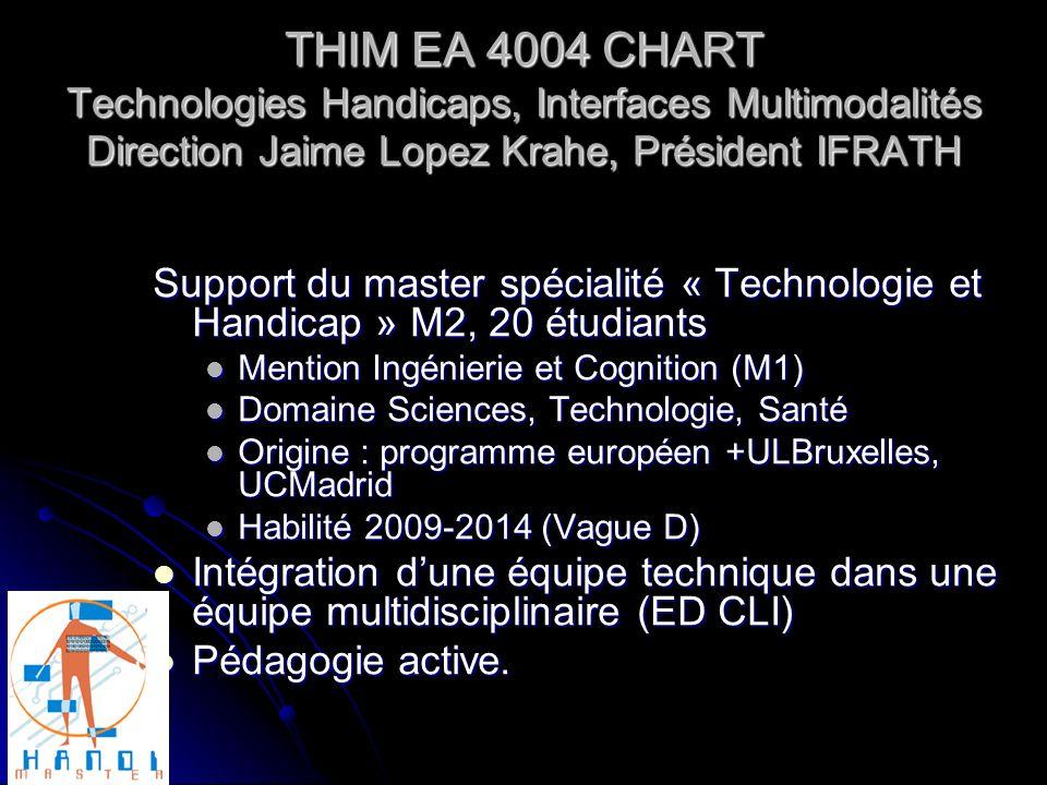 THIM EA 4004 CHART Technologies Handicaps, Interfaces Multimodalités Direction Jaime Lopez Krahe, Président IFRATH Support du master spécialité « Tech