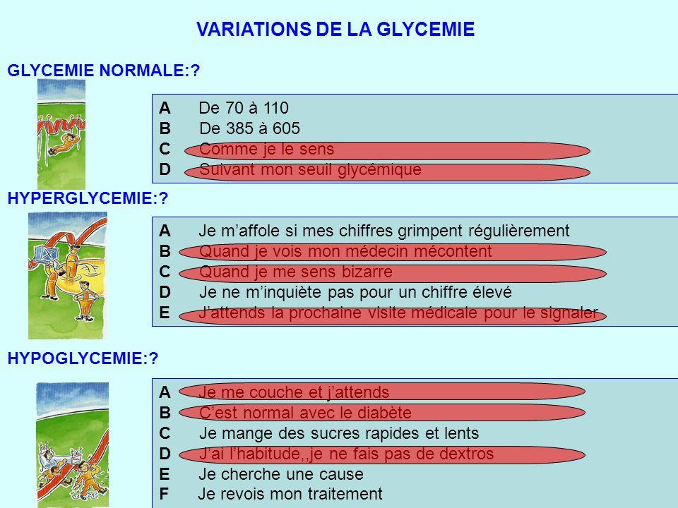VARIATIONS DE LA GLYCEMIE A De 70 à 110 B De 385 à 605 C Comme je le sens D Suivant mon seuil glycémique A Je maffole si mes chiffres grimpent réguliè