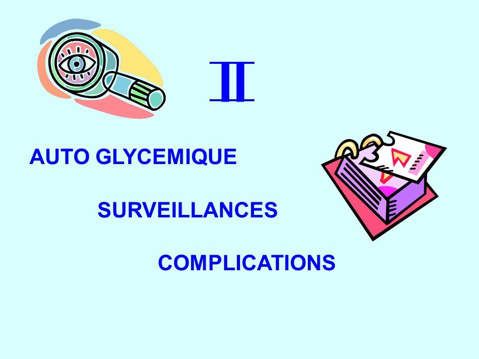 AUTO GLYCEMIQUE II SURVEILLANCES COMPLICATIONS