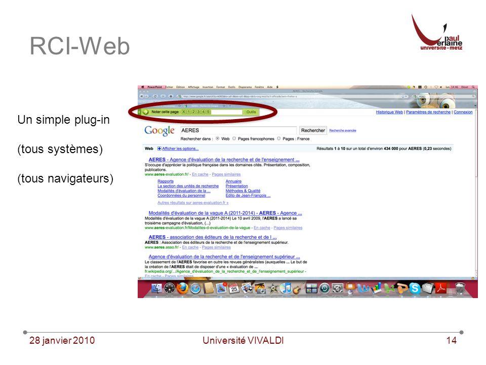 28 janvier 2010Université VIVALDI14 RCI-Web Un simple plug-in (tous systèmes) (tous navigateurs)