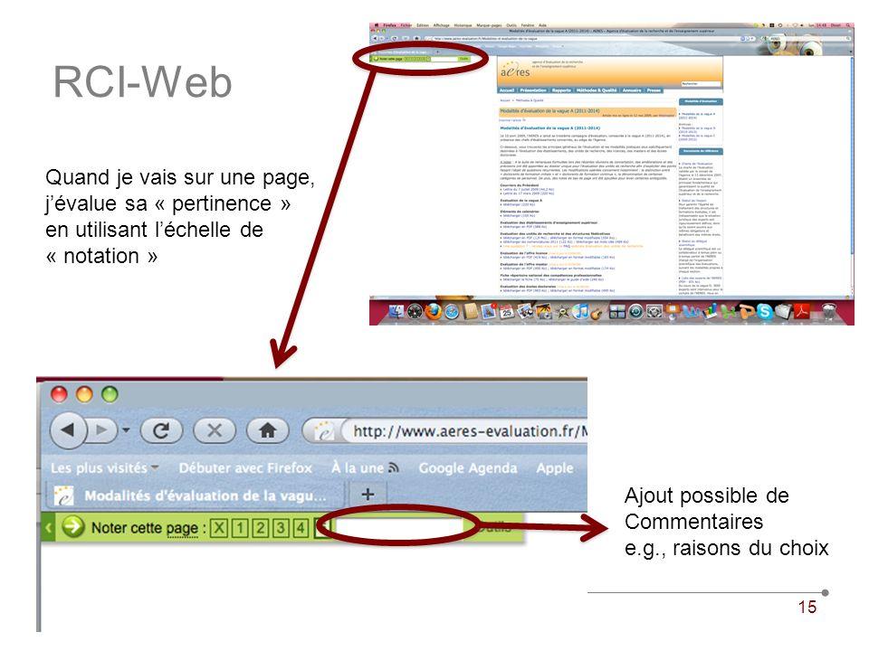 28 janvier 2010Université VIVALDI15 RCI-Web Quand je vais sur une page, jévalue sa « pertinence » en utilisant léchelle de « notation » Ajout possible de Commentaires e.g., raisons du choix