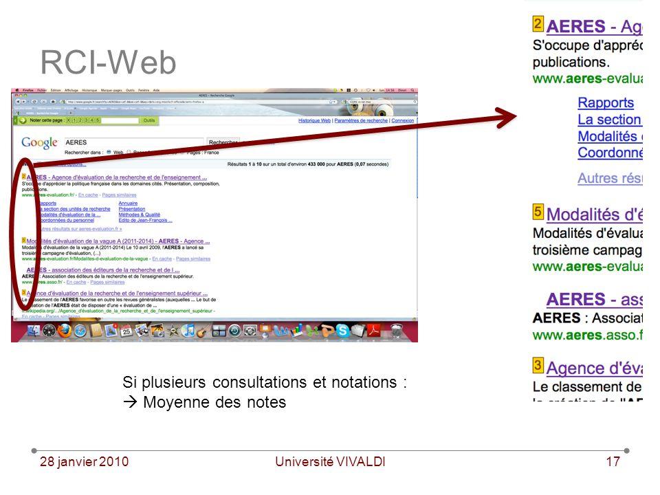 28 janvier 2010Université VIVALDI17 RCI-Web Si plusieurs consultations et notations : Moyenne des notes