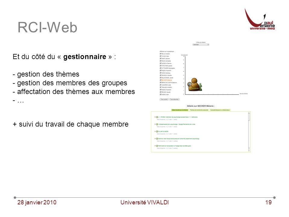 28 janvier 2010Université VIVALDI19 RCI-Web Et du côté du « gestionnaire » : - gestion des thèmes - gestion des membres des groupes - affectation des thèmes aux membres - … + suivi du travail de chaque membre