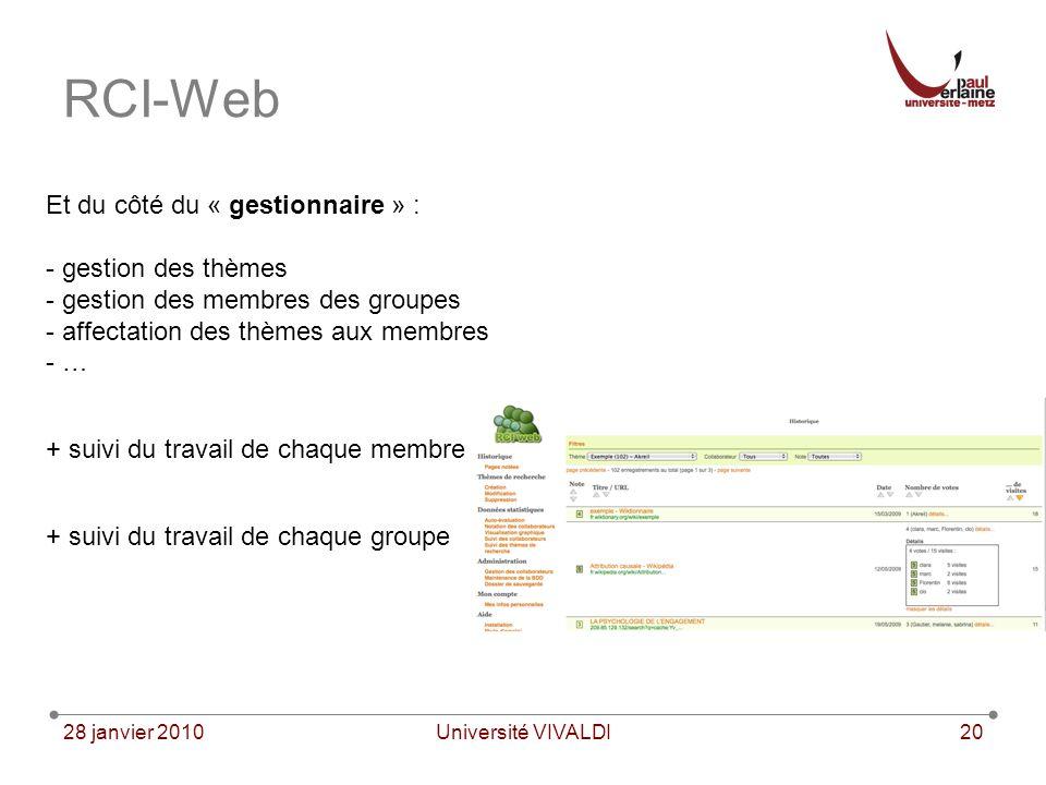 28 janvier 2010Université VIVALDI20 RCI-Web Et du côté du « gestionnaire » : - gestion des thèmes - gestion des membres des groupes - affectation des thèmes aux membres - … + suivi du travail de chaque membre + suivi du travail de chaque groupe