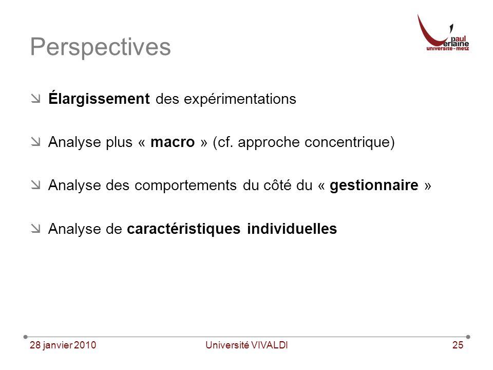 28 janvier 2010Université VIVALDI25 Perspectives Élargissement des expérimentations Analyse plus « macro » (cf.