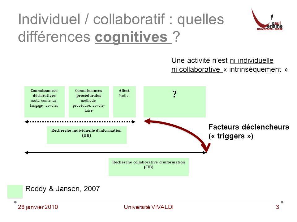 28 janvier 2010Université VIVALDI3 Individuel / collaboratif : quelles différences cognitives .